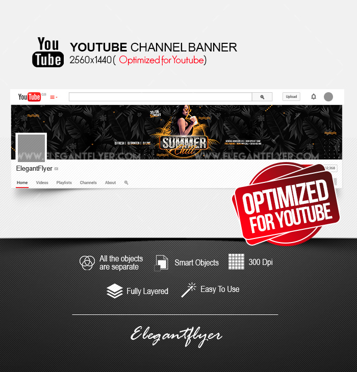 Summer Chill – Youtube Channel banner PSD Template