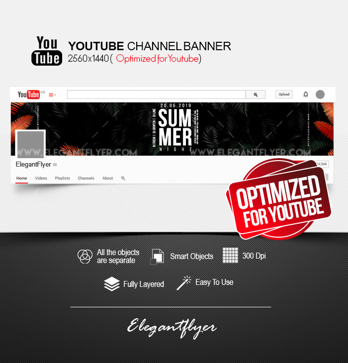 Summer Night – Youtube Channel banner PSD Template