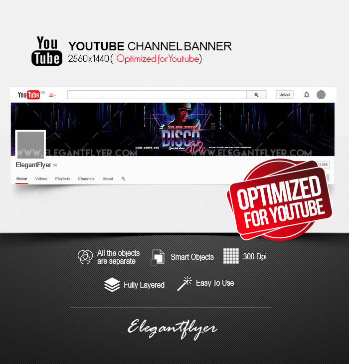 Disco 80s – Youtube Channel banner PSD Template