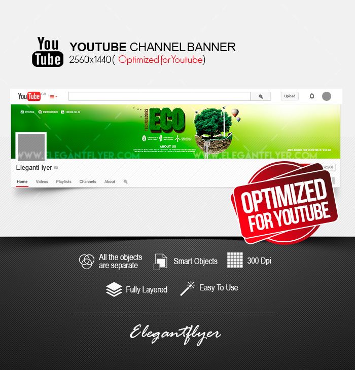 Eco Technologies – Free Youtube Channel banner PSD Template