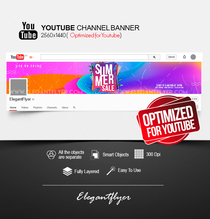 Summer Sale – Youtube Channel banner PSD Template