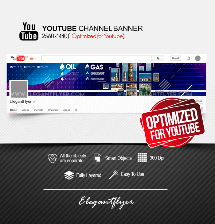Oil & Gas Company – Youtube Channel banner PSD Template