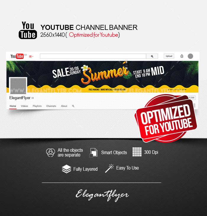 Summer Mid Sale – Free Youtube Channel banner PSD Template