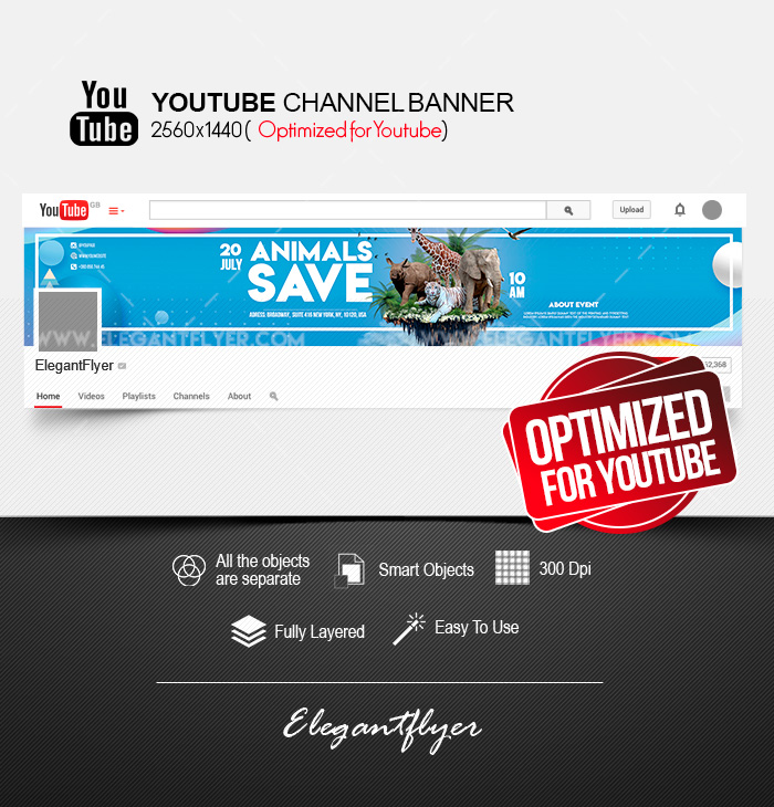 Save the Animals – Youtube Channel banner PSD Template