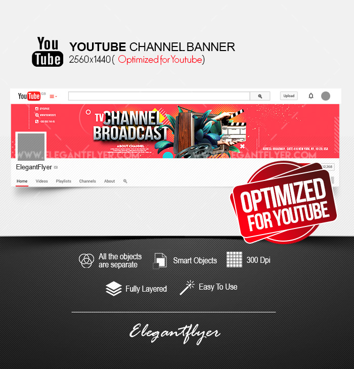 TV Channel Broadcast – Youtube Channel banner PSD Template