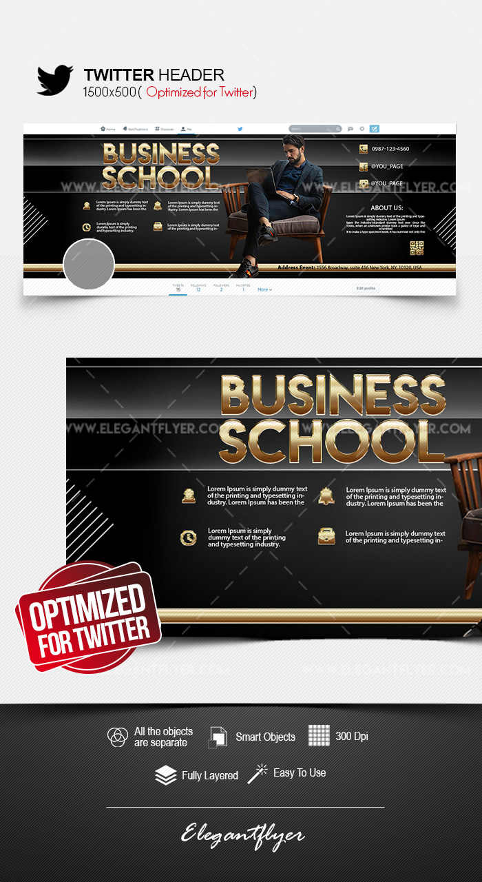 Business School – Free Twitter Header PSD Template