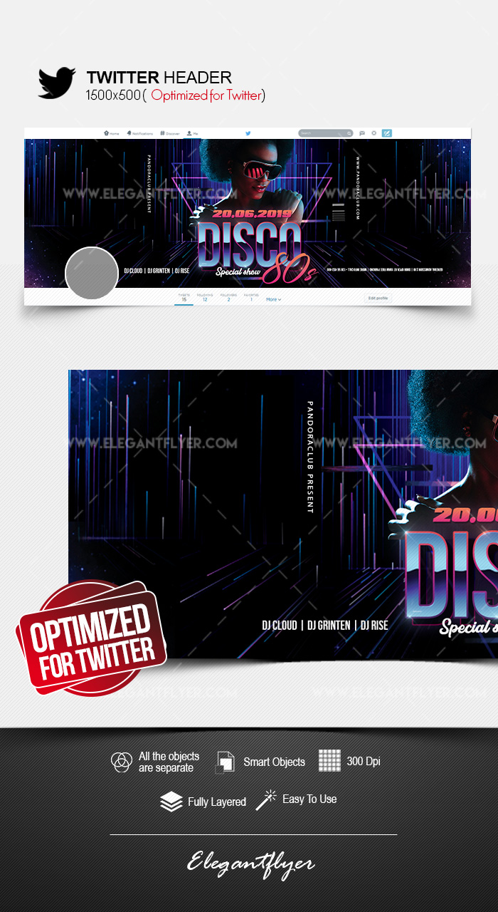 Disco 80s – Twitter Header PSD Template