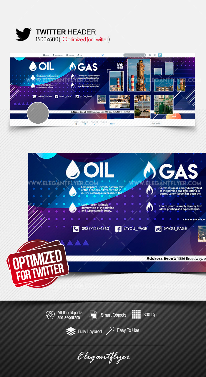 Oil & Gas Company – Twitter Header PSD Template