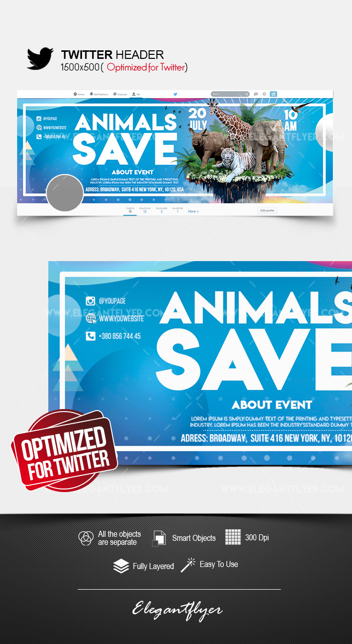 Save the Animals – Twitter Header PSD Template