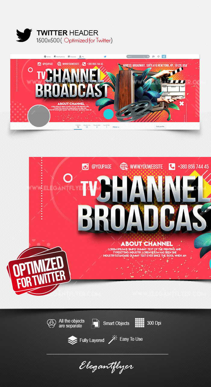 TV Channel Broadcast – Twitter Header PSD Template