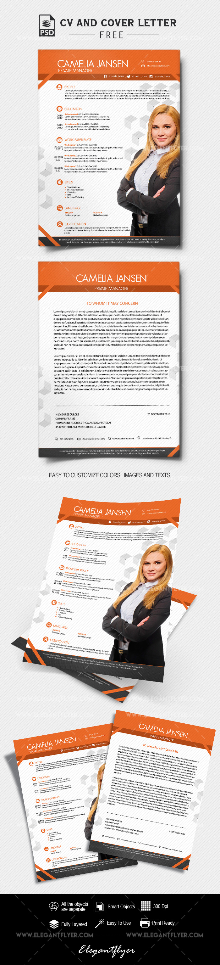 manager  u2013 free cv and cover letter psd template  u2013 by elegantflyer