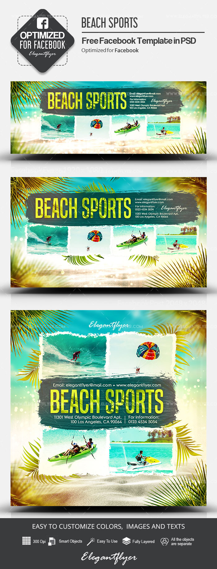 Beach Sports – Free Facebook Cover Template in PSD + Post + Event cover
