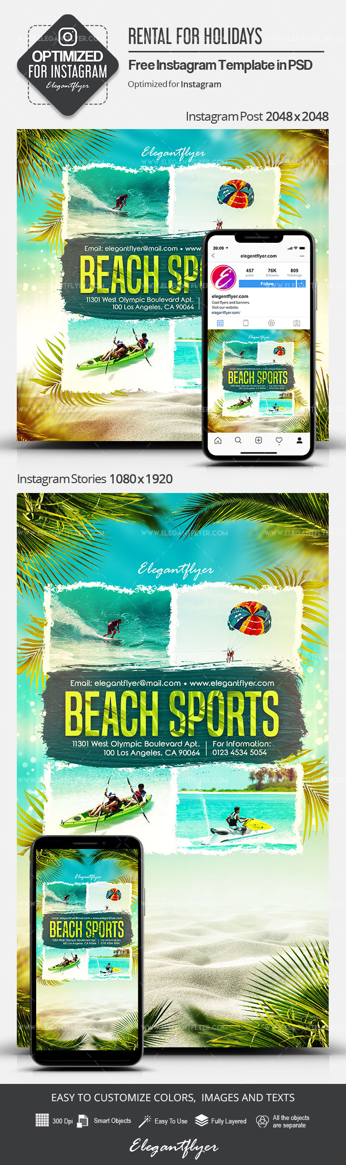 Beach Sports – Free Instagram Stories Template in PSD + Post Templates