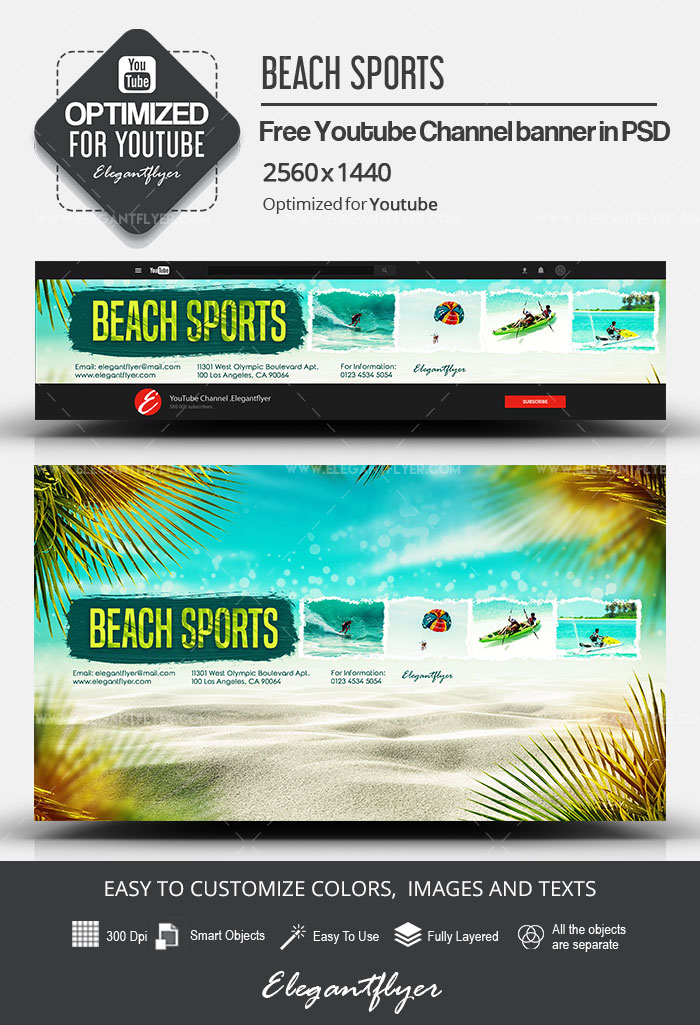 Beach Sports – Free Youtube Channel banner PSD Template