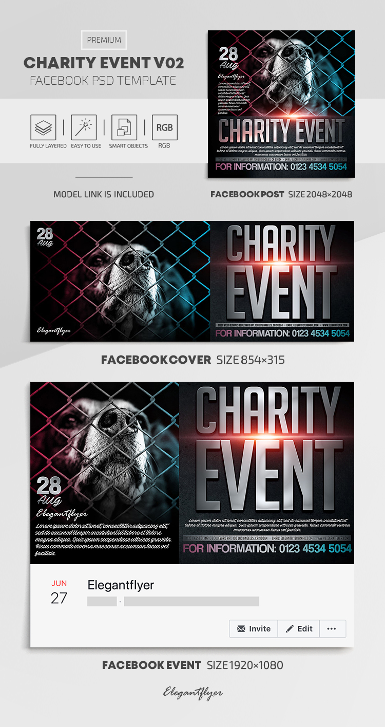 Charity Event – Facebook Cover Template in PSD + Post + Event cover