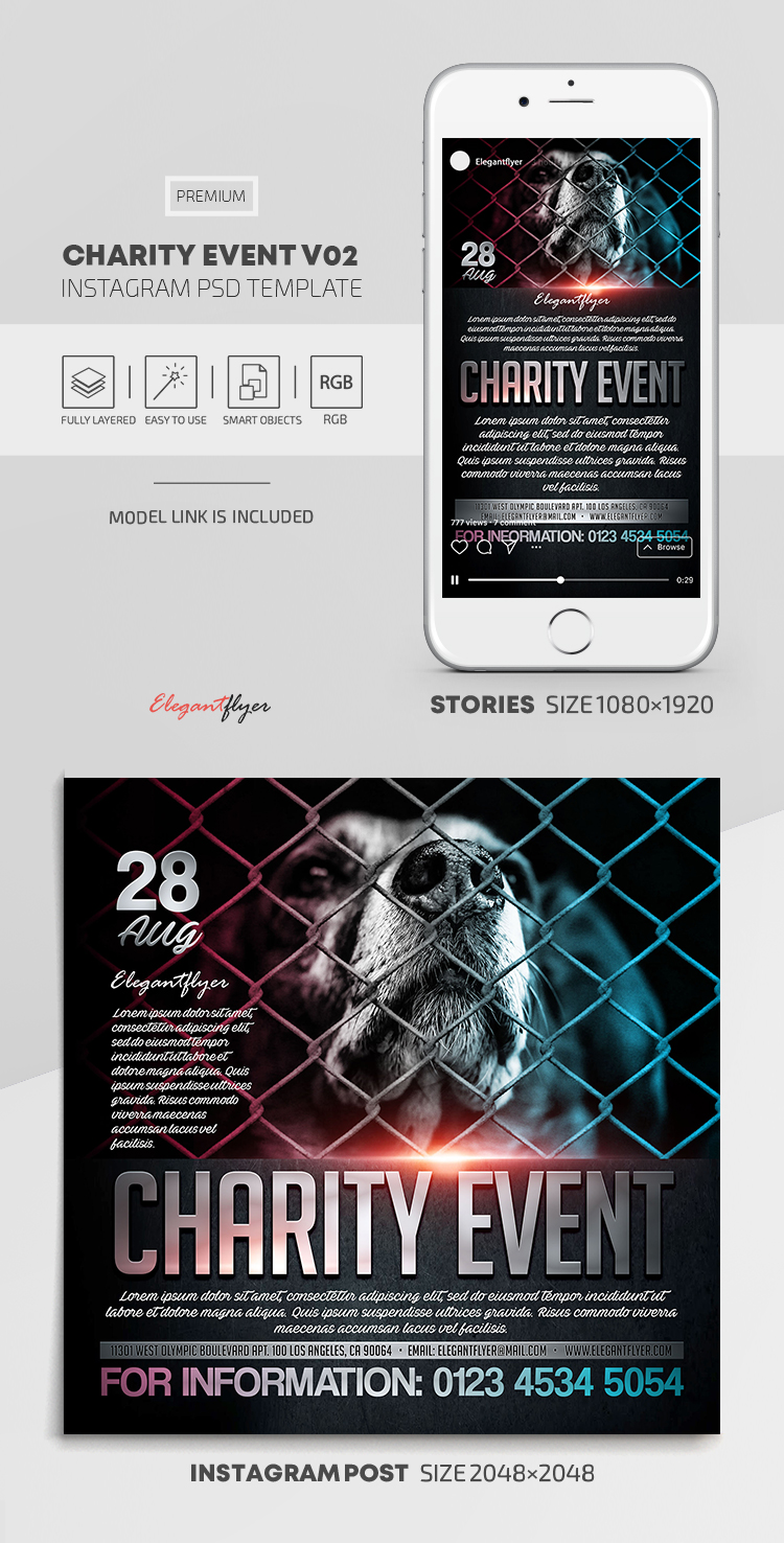 Charity Event – Instagram Stories Template in PSD + Post Templates