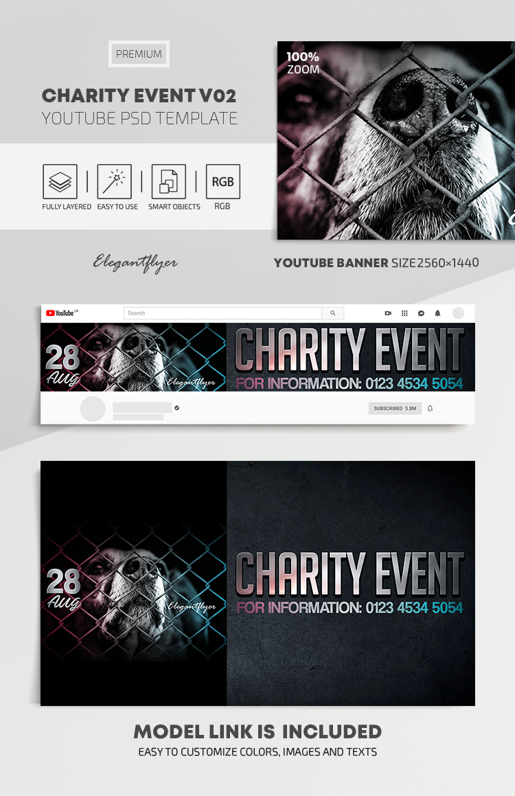 Charity Event – Youtube Channel banner PSD Template