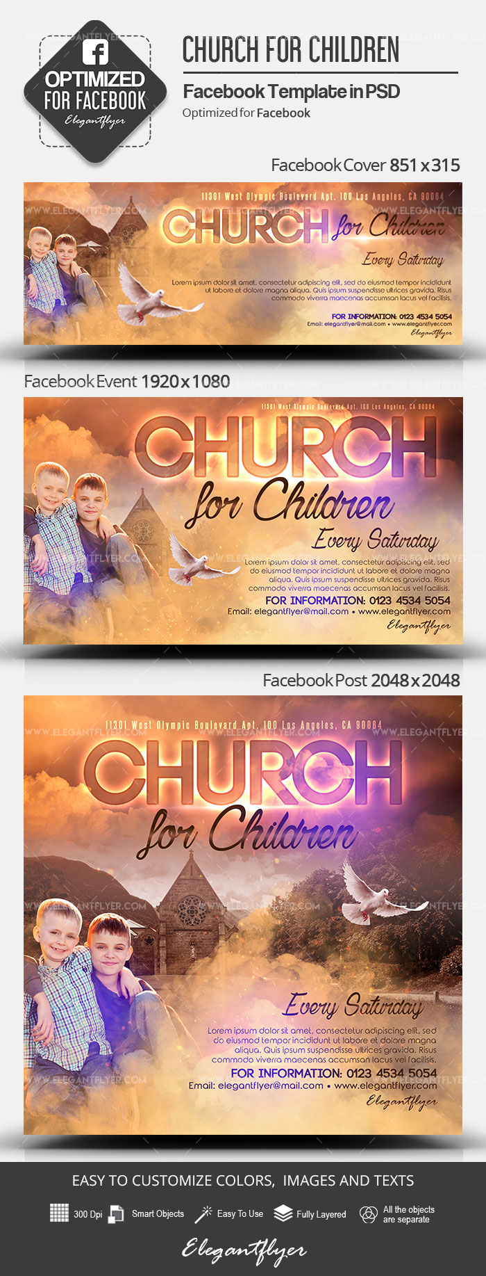Church for Children – Facebook Cover Template in PSD + Post + Event cover