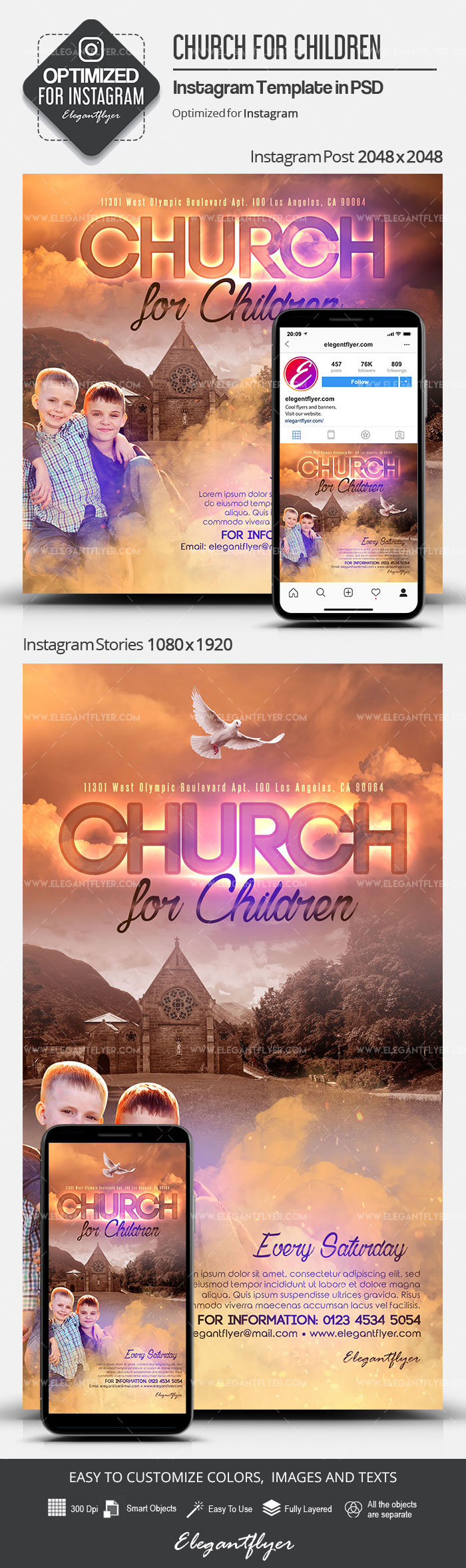 Church for Children – Instagram Stories Template in PSD + Post Templates
