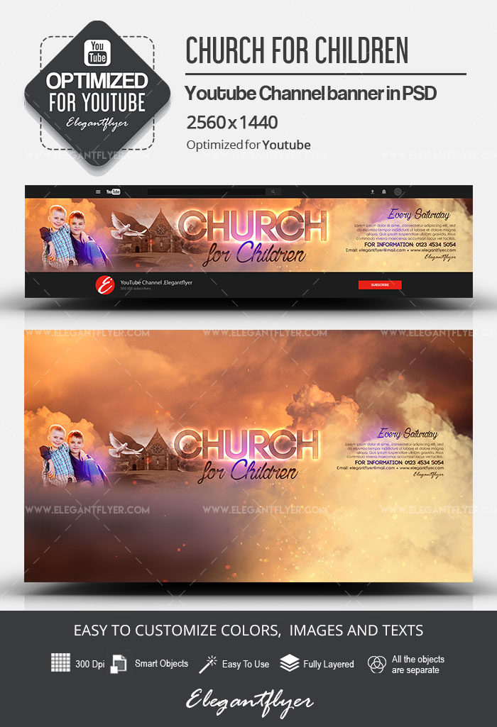 Church for Children – Youtube Channel banner PSD Template