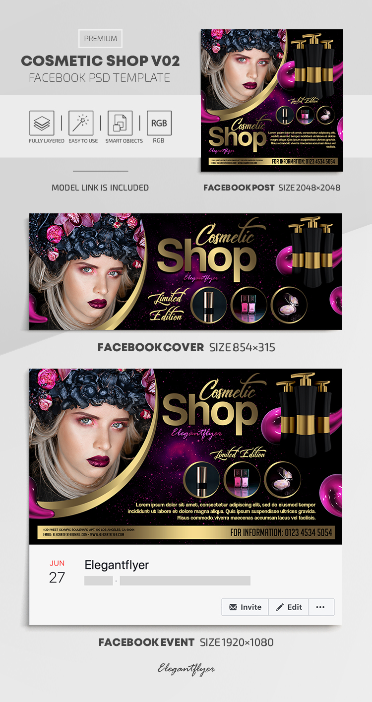 Cosmetic Shop – Facebook Cover Template in PSD + Post + Event cover