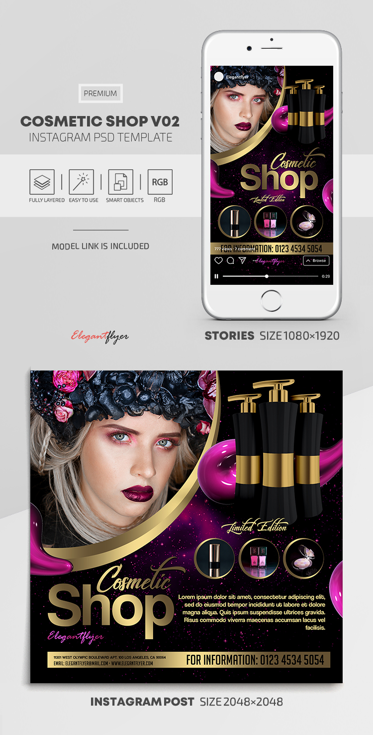 Cosmetic Shop – Instagram Stories Template in PSD + Post Templates