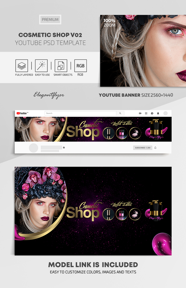 Cosmetic Shop – Youtube Channel banner PSD Template