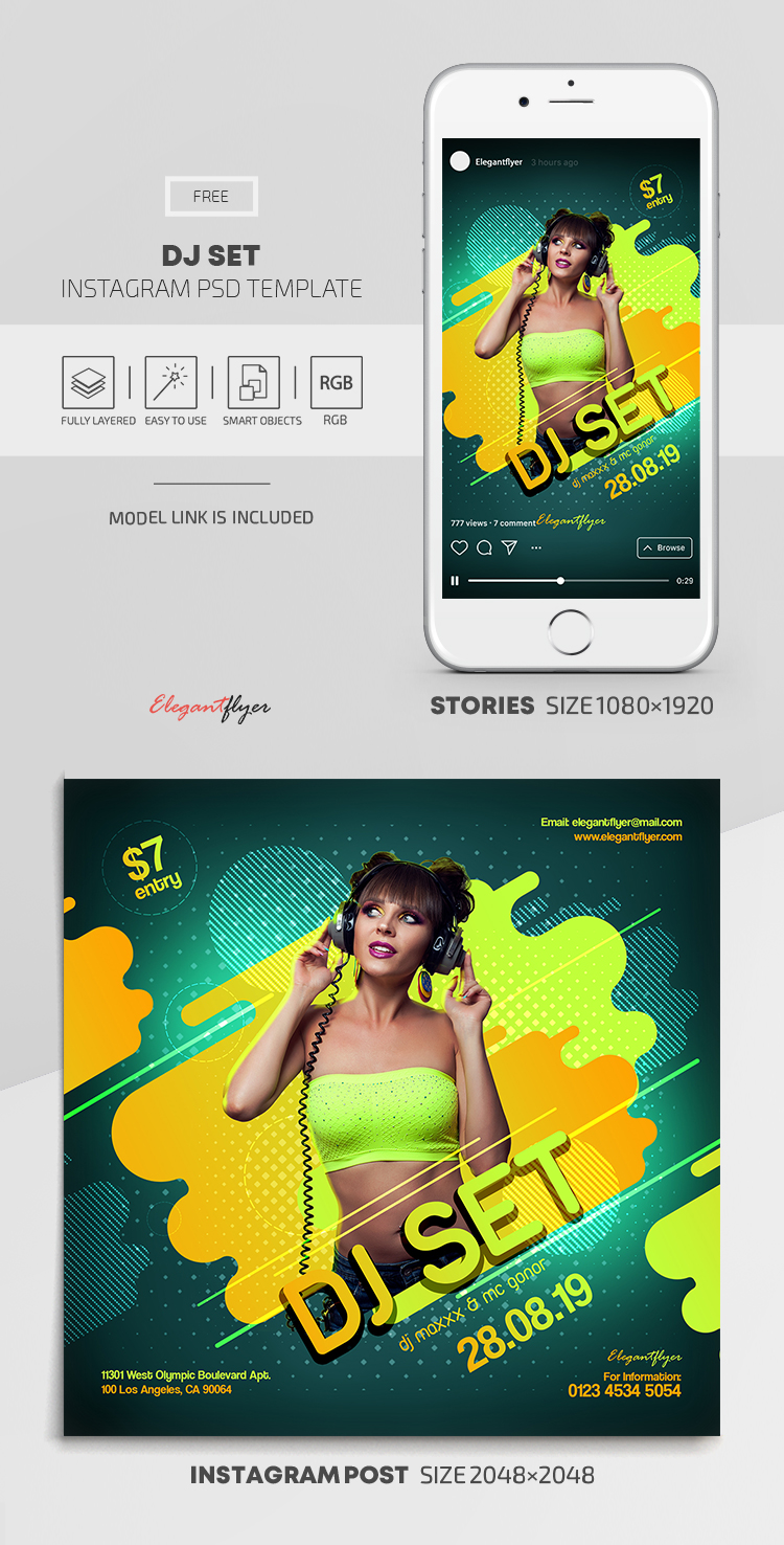 DJ Set – Free Instagram Stories Template in PSD + Post Templates