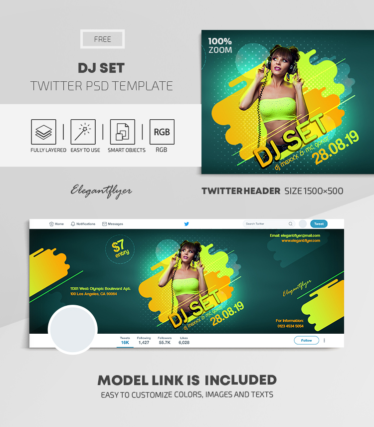 DJ Set – Free Twitter Header PSD Template