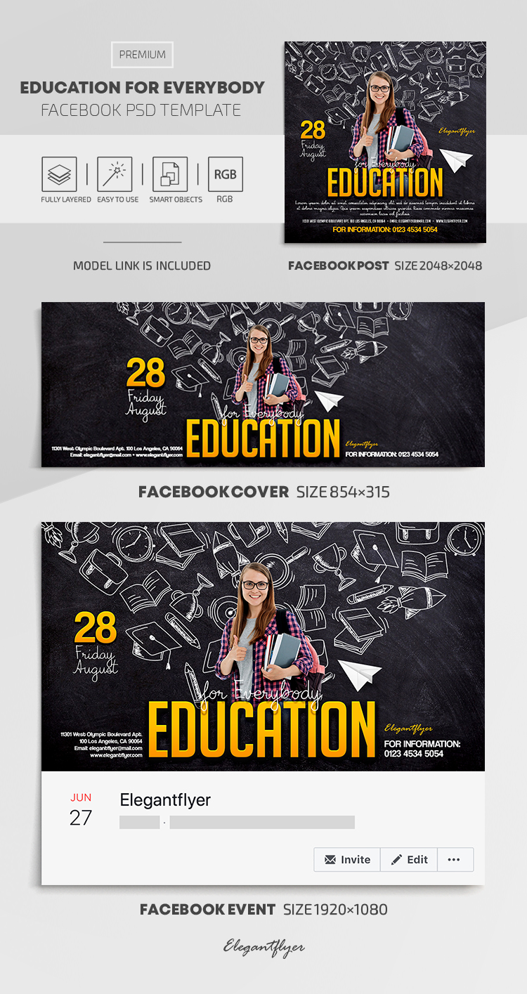 Education for Everybody – Facebook Cover Template in PSD + Post + Event cover