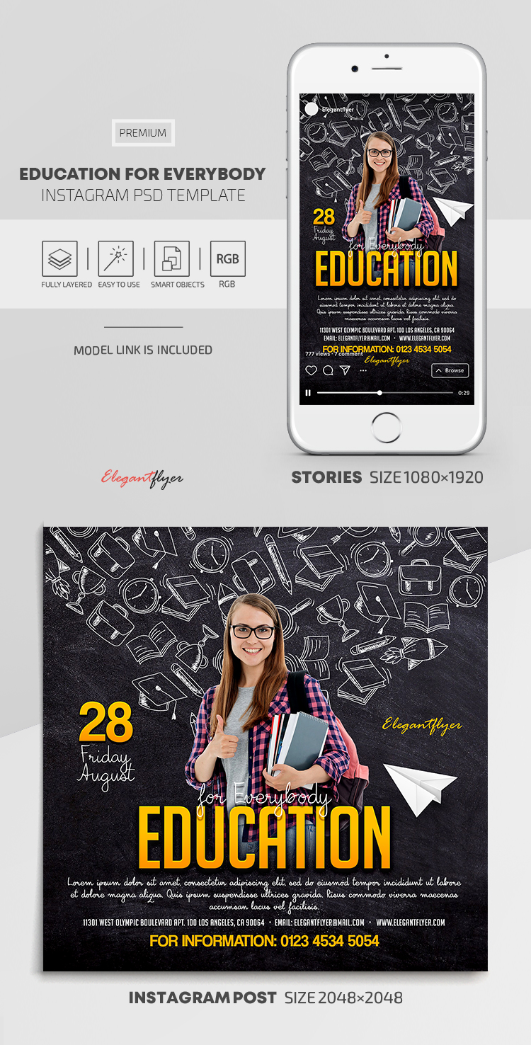 Education for Everybody – Instagram Stories Template in PSD + Post Templates