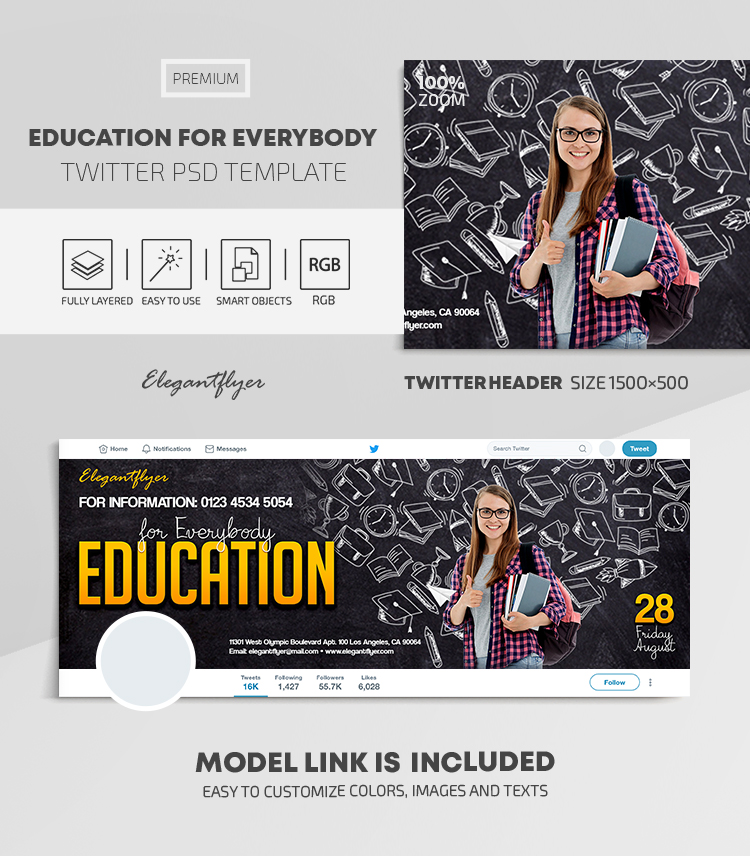 Education for Everybody – Twitter Header PSD Template