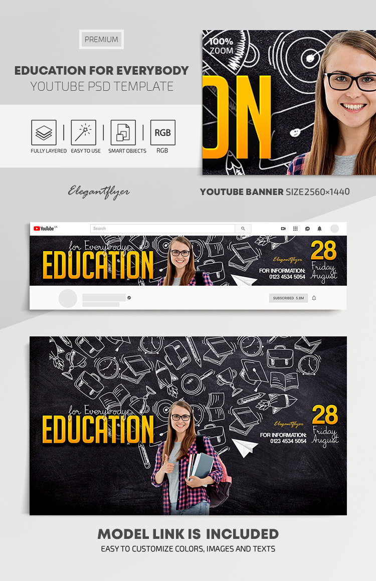 Education for Everybody – Youtube Channel banner PSD Template