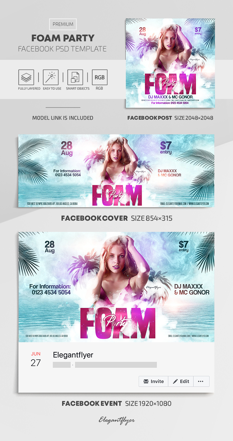 Foam Party – Facebook Cover Template in PSD + Post + Event cover