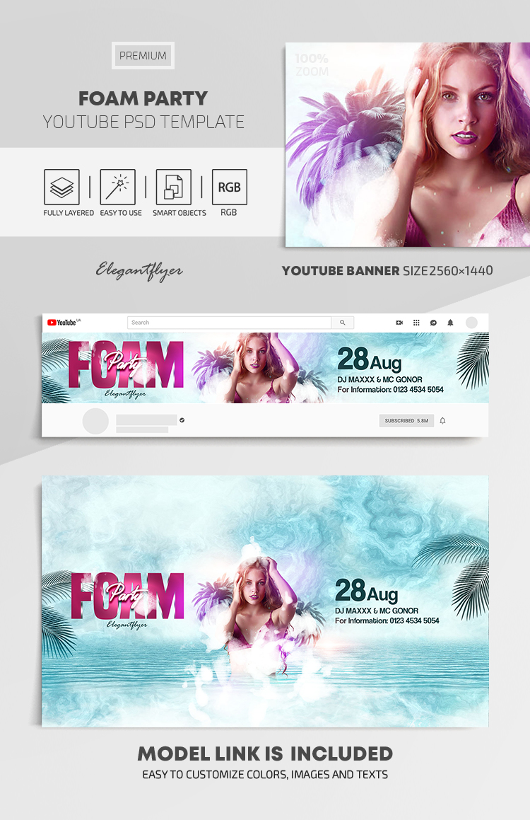 Foam Party – Youtube Channel banner PSD Template