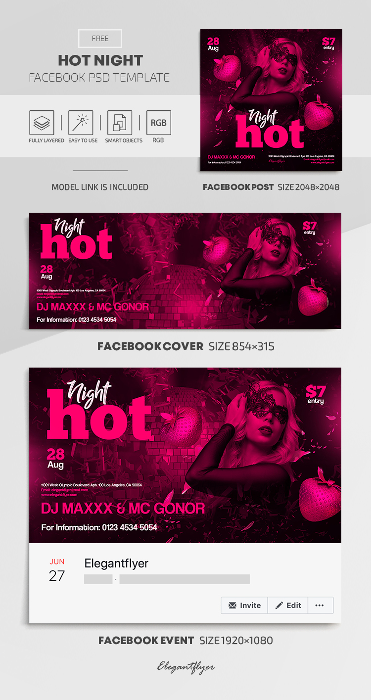 Hot Night – Free Facebook Cover Template in PSD + Post + Event cover
