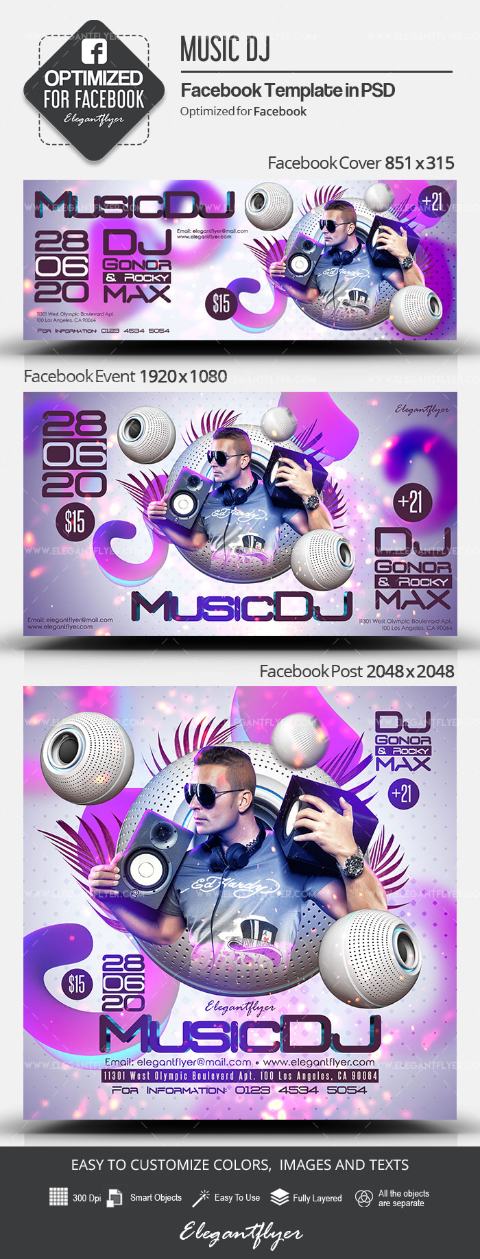 Music DJ – Facebook Cover Template in PSD + Post + Event cover