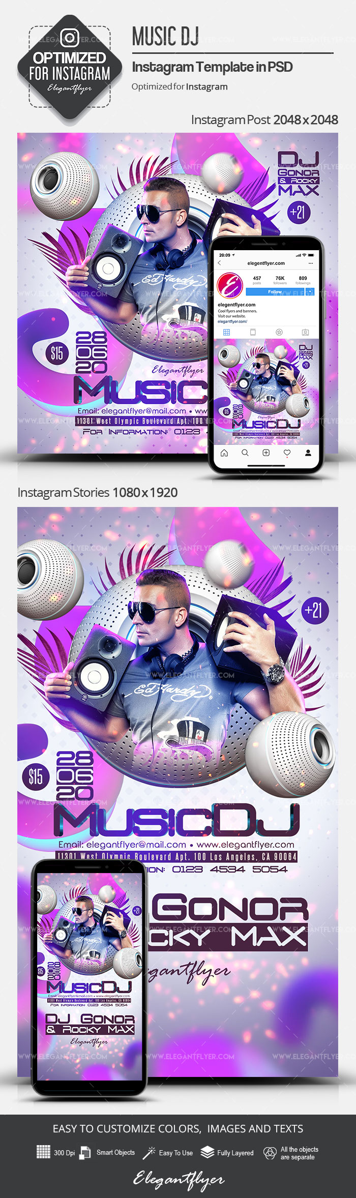 Music DJ – Instagram Stories Template in PSD + Post Templates