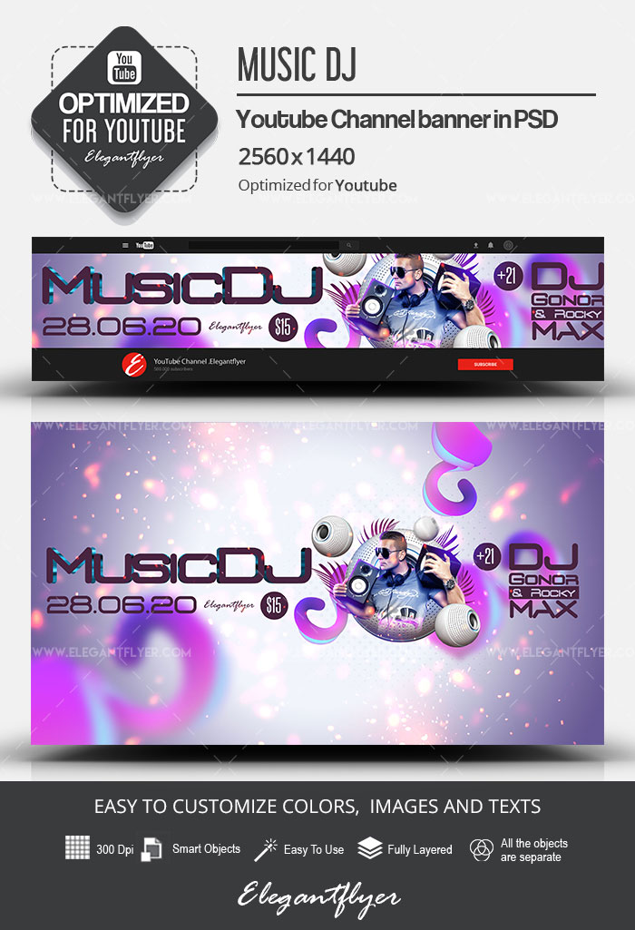 Music DJ – Youtube Channel banner PSD Template