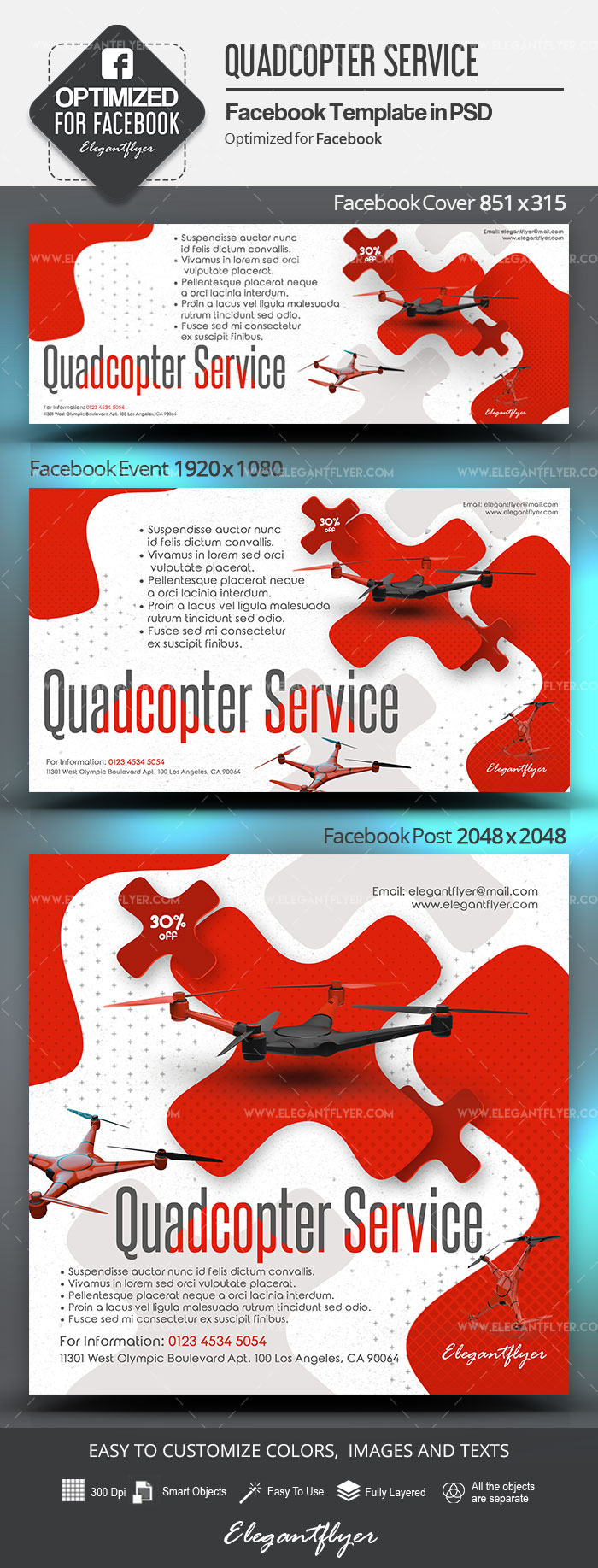 Quadcopter Service – Facebook Cover Template in PSD + Post + Event cover