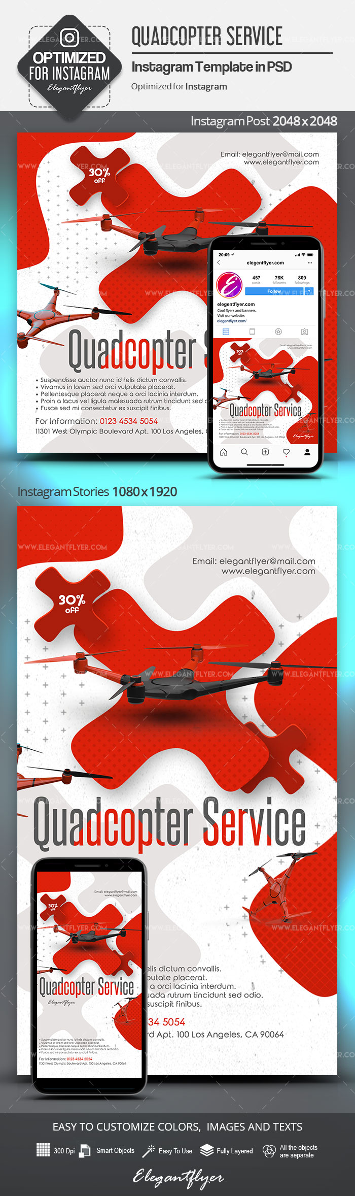 Quadcopter Service – Instagram Stories Template in PSD + Post Templates