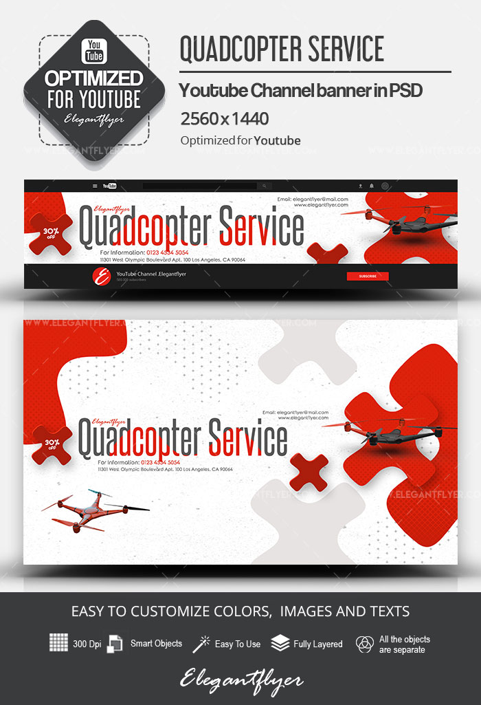 Quadcopter Service – Youtube Channel banner PSD Template