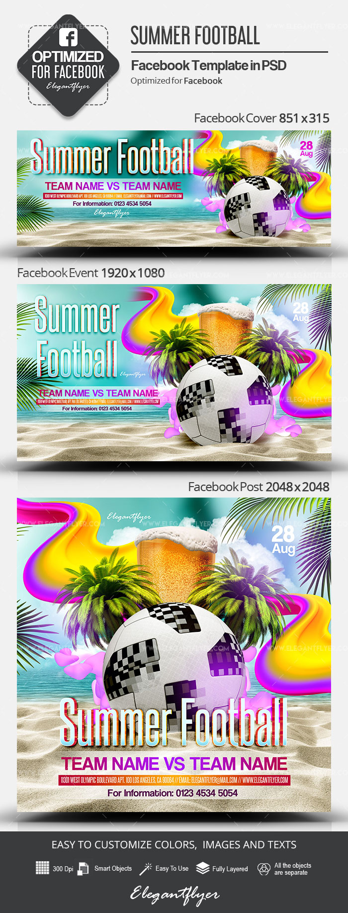 Summer Football – Facebook Cover Template in PSD + Post + Event cover