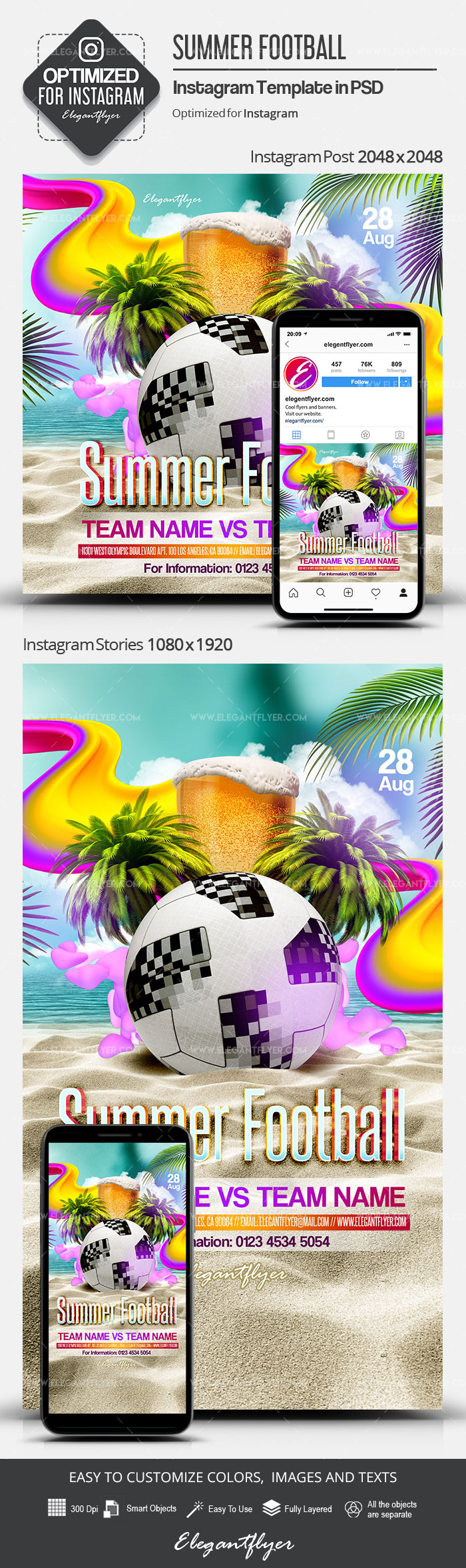 Summer Football – Instagram Stories Template in PSD + Post Templates