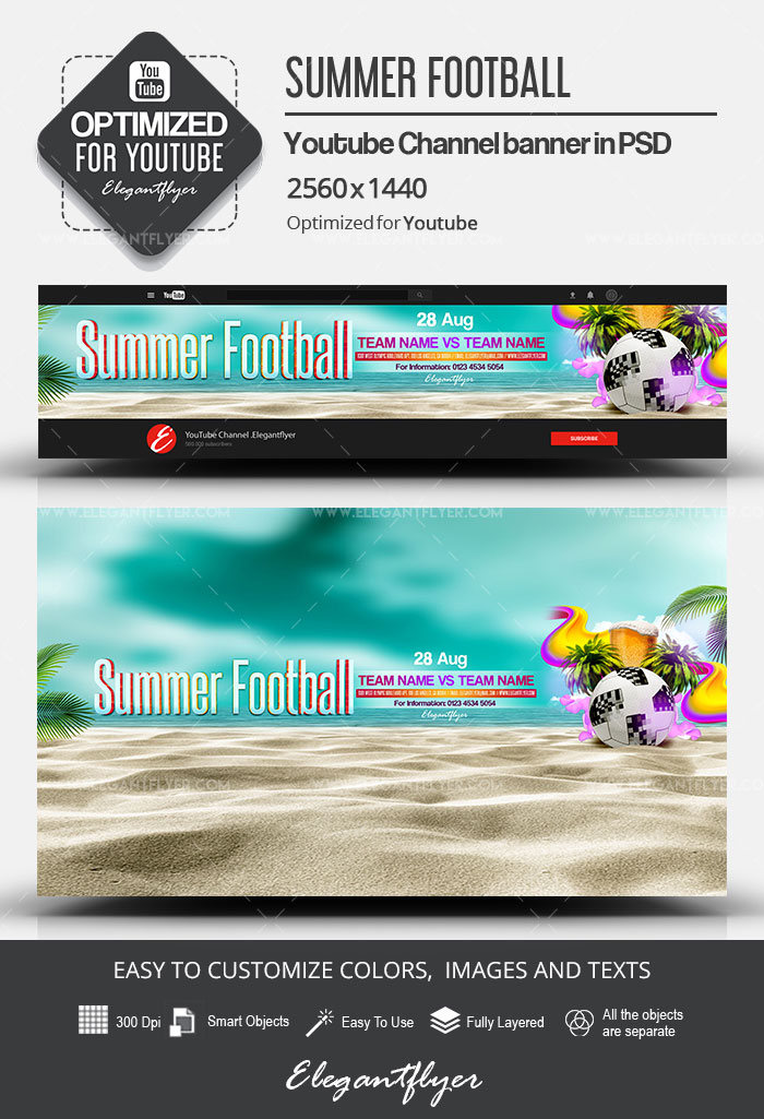 Summer Football – Youtube Channel banner PSD Template