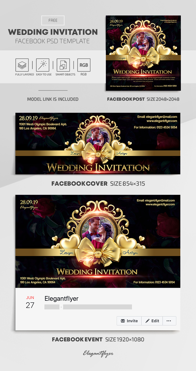 Wedding Invitation – Free Facebook Cover Template in PSD + Post + Event cover