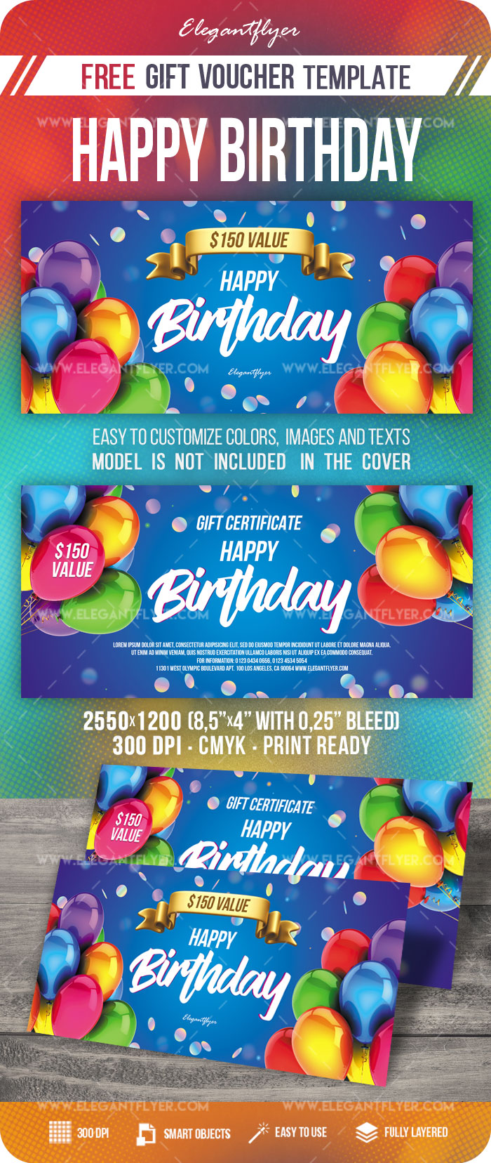 Happy Birthday – Free PSD Gift Certificate Template