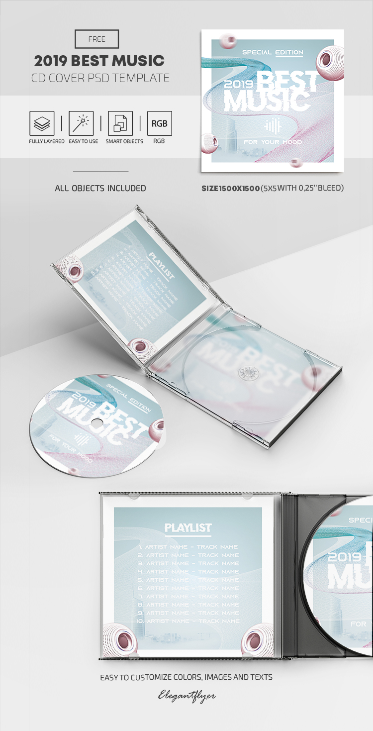 2019 Best Music – Free PSD CD Cover Template