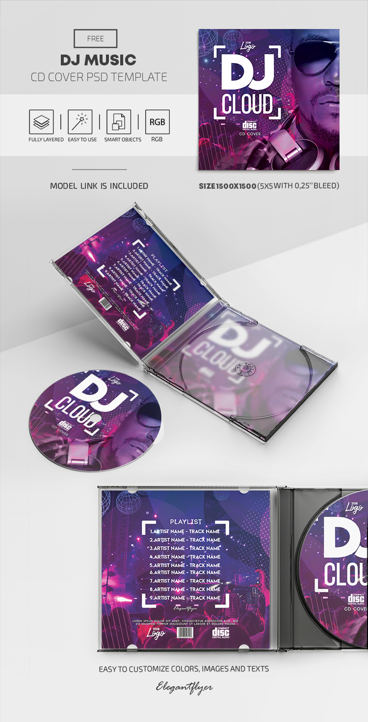 Dj Music – Free PSD CD Cover Template