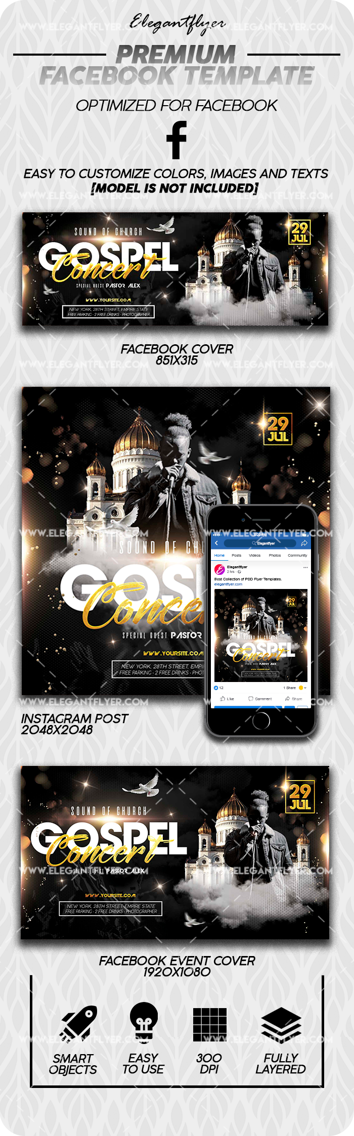 Gospel Concert – Premium Facebook Cover Template in PSD + Post + Event cover